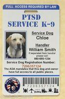 PTSD SERVICE DOG ID CARD ASSISTANCE ANIMAL ID BADGE ADA K-9 TAG # 1 PTSD