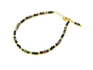 Fancy Gold Plated Black Spinel Gold Hematite & Crystal Ankle Bracelet Anklet F90