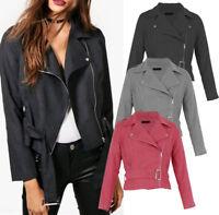 New WOMEN Suede Look Size Zip Belted CLASSIC Ladies BIKER JACKET Coat 8-14 UK