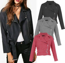 UK Womens Faux Suede Biker ZIPPER Cropped Coat Bomber Collared Jacket Coats 10