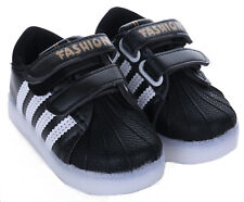 Light up Shoes LED Flashing Trainers Casual SNEAKERS Kids Boys Girls Baby Shoes Sporty Black 8 Infant
