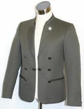 "GREEN WOOL JACKET Men German Western Sport EMBROIDERY Suit Over Coat 39"" S M"