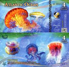 ATLANTIC OCEAN 4 Ocean Dollars Fun-Fantasy Note 2017 Banknote Jellyfish Bill