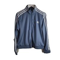 Adidas Mens Blue Polyester Full Zip Striped Activewear Track Jacket Size Large