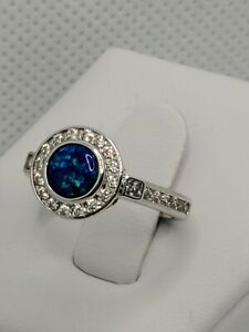 Ring Bomb Party Size 6 Ocean Blue Green Opal Rhodium RPB New w/ NO tag or bag