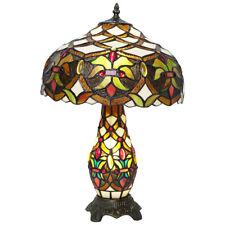 Style Tiffany Verre 2 Voie Table Ampoule Lampe en Abat-Jour et Base Art Déco (