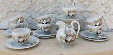8 tasses thé café Porcelaine du Japon décor de cigognes