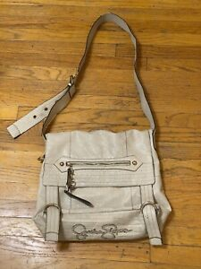 Jessica Simpson Ivory Pebbled Faux Leather Messenger Crossbody Flap Front Bag