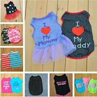 Small Dog Cat Pet Love Mum Various Clothes Pupply Vest Lace Dress Shirt Apparel