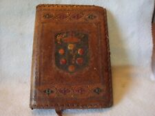 Vintage Hand Tooled Leather Book Cover with Crown and Ornate