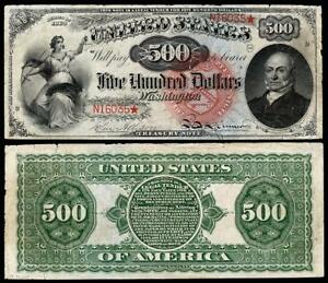 NICE CRISP UNCIRCULATED 1869 $500.00   COPY FR BANKNOTE!