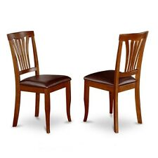 Kitchen Dining Chair With Faux Leather Seat - Saddle Brow Finish, Set Of 2 NEW