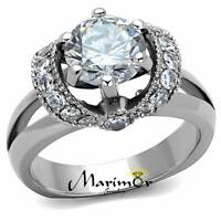 STAINLESS STEEL 2.5 CT ROUND CUT AAA ZIRCONIA ENGAGEMENT RING WOMEN'S SIZE 5-10