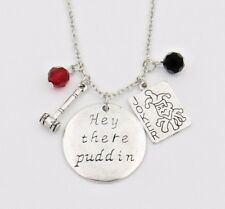 """HARLEY QUINN  """"Hey There Puddin"""" 3 CHARM Necklace PENDANT DC COMICS"""