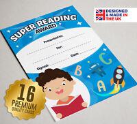 16 Super Reading Award Certificates - School Reward Teaching Resources, A6 Size