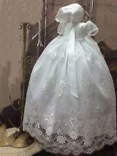 Lace Dentelle Robes de Baptême Pleine Longueur Blanc Bébé +Bonnet 0-24 Mois Neuf