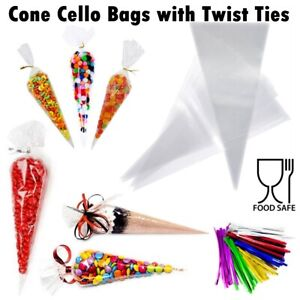 Cellophane Cone Sweet Bags Clear Plastic Cello Party Gift Candy Treat Twist Ties