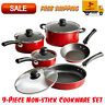 Tramontina 9-Piece Non-Stick Cookware Set, Red, Dishwasher Safe, Kitchen Home