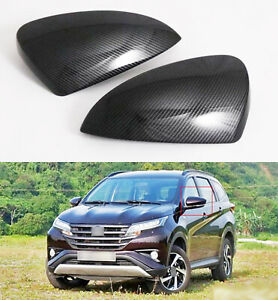 Carbon Style Rearview Side Mirror Cover Trim Emblems For Toyota Rush 2018-2021