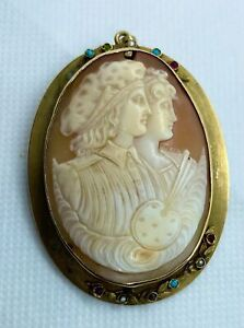 Antique 10K Solid Gold Framed Portrait Shell Cameo Couple Pin / Pendant - LS