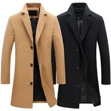 Vintage Men's Trench Coat Winter Warm Long Jacket Single Breasted Overcoat  Pop