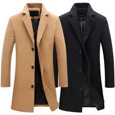 Fashion Men's Trench Coat Winter Warm Long Jacket Single Breasted Overcoat Pop