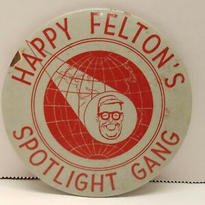 "Large 4"" VTG 1950s Happy Felton's Spotlight Gang Button Pin    Brooklyn Dodgers"