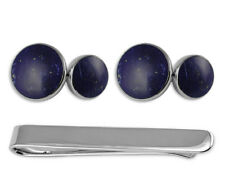 Sterling Silver Lapis Double-Sided Cufflinks Tie Clip Box Set