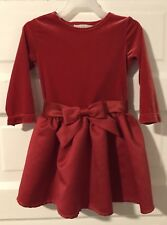 Euc Girl's Red Holiday Dress 2T Christmas Velour Bow Toddler Formal George Sash