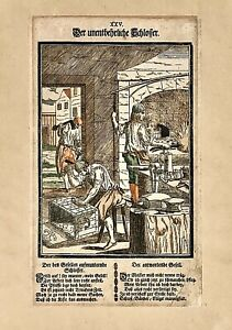 Original 1689 Woodcut CURIOSER SPIEGEL Plate XXVI (Horse Groom / Blacksmith)