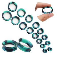 2PCS Thin Skins TUNNELS Silicone Plugs Flesh Ear Gauges Expander Piercings