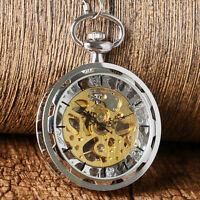 Classic Silver/Gold Transparent Skeleton Mechanical Pendant Pocket Watch Gift