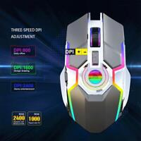 2.4GHz Wireless 2400DPI Rechargeable RGB Light Optical Gaming USB Mouse For PC