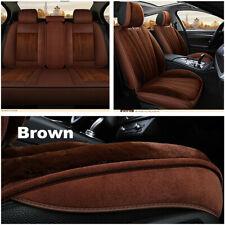 Brown Plush 5-Seats Car Seat Chair Cover Cushion Winter Thicken Warmer Pad