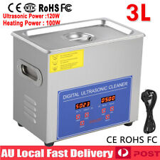 3l Digital Ultrasonic Cleaner Jewelry Timer Sonic Wave Tank Basket Industrial AU