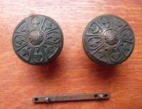 Antique Dark Bronze Fancy Victorian Vernacular Doorknobs by Norwalk c1885