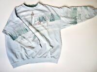 Vintage Lighthouse Sweatshirt Artisans Glen Flora WI Grandma All Over Print 90's
