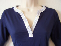 NAUTICA 100% Cotton NAVY Split V-Neck T-Shirt with Plaid Trim XS-L MSRP $30
