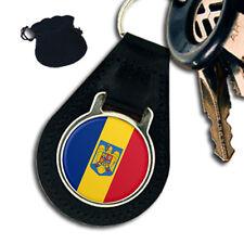ROMANIA ROMANIAN FLAG & COAT OF ARMS LEATHER KEYRING / KEYFOB GIFT
