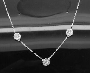 0.73Ct Round Cut Genuine Diamond Station Choker Necklace In 10K Solid White Gold
