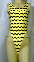 New Black & Yellow Stripes Pattern Thong Leotard for Women size 10 Small