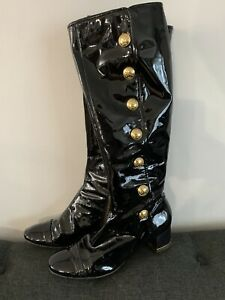TORY BURCH MADISON BLACK PATENT LEATHER TALL BOOTS GOLD ACCENTS SIZE 7.5
