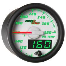 MaxTow 52mm White Double Vision Oil Temperature Temp Gauge w Sensor - MT-WDV07
