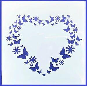 Flexible Stencil *BUTTERFLY & FLOWER HEART* Butterflies Card Making 14cm x 14cm