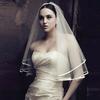 Hot Sale White or Ivory 2T Wedding Bridal Veil Satin Edge Lace Fashion 1pc New