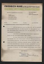 HALLE/SAALE, Brief 1939, Friedrich Ruhe sen. Baugeschäft Hochbau Betonbau Zimmer
