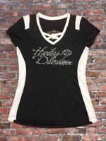 """Harley-Davidson Women's """"Fire & Ice"""" cross neck bling white & black Small shirt"""