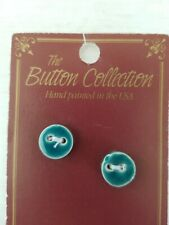 NEW 2 Mill Hill Handmade Ceramic Buttons Set Cross Stitch ROUND 2-HOLE TEAL BLUE