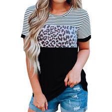 US Womens Leopard Summer Long Sleeve Turtleneck Tops Casual Shirt Blouse T-shirt