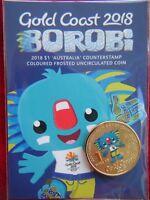 2018 Borobi Gold Coast XXI Games - $1 'Australia' COUNTERSTAMP Coloured UNC Coin